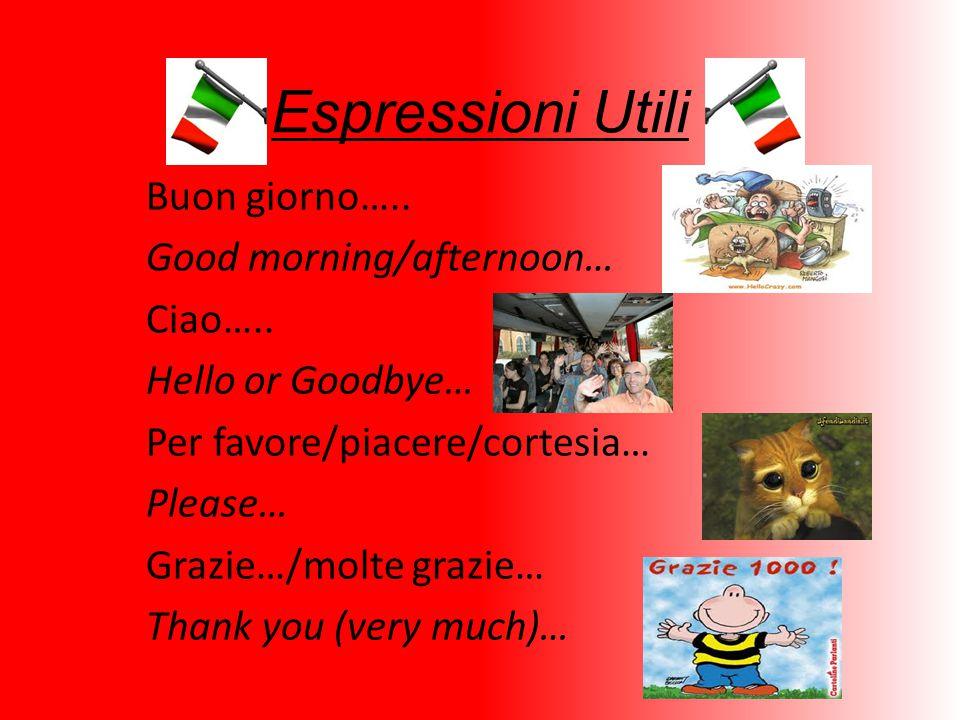 Espressioni Utili Buon giorno….. Good morning/afternoon… Ciao…..