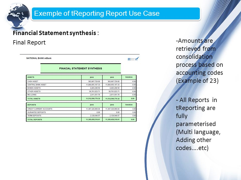 Financial Statement synthesis : Final Report