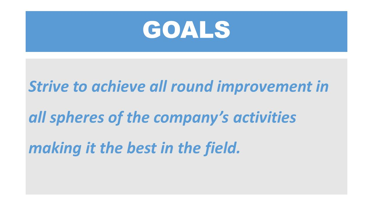 GOALS Strive to achieve all round improvement in all spheres of the company's activities making it the best in the field.