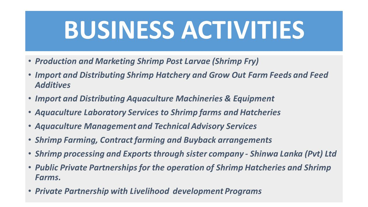 BUSINESS ACTIVITIES Production and Marketing Shrimp Post Larvae (Shrimp Fry)