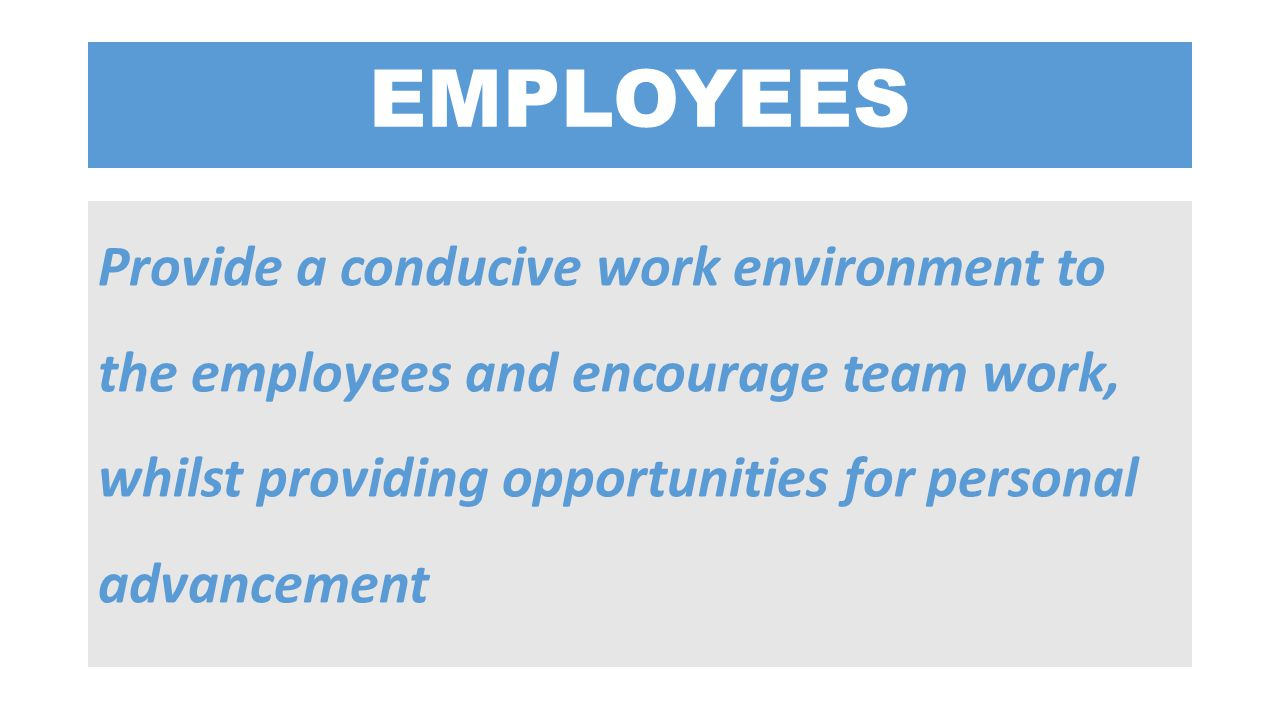 EMPLOYEES Provide a conducive work environment to the employees and encourage team work, whilst providing opportunities for personal advancement.