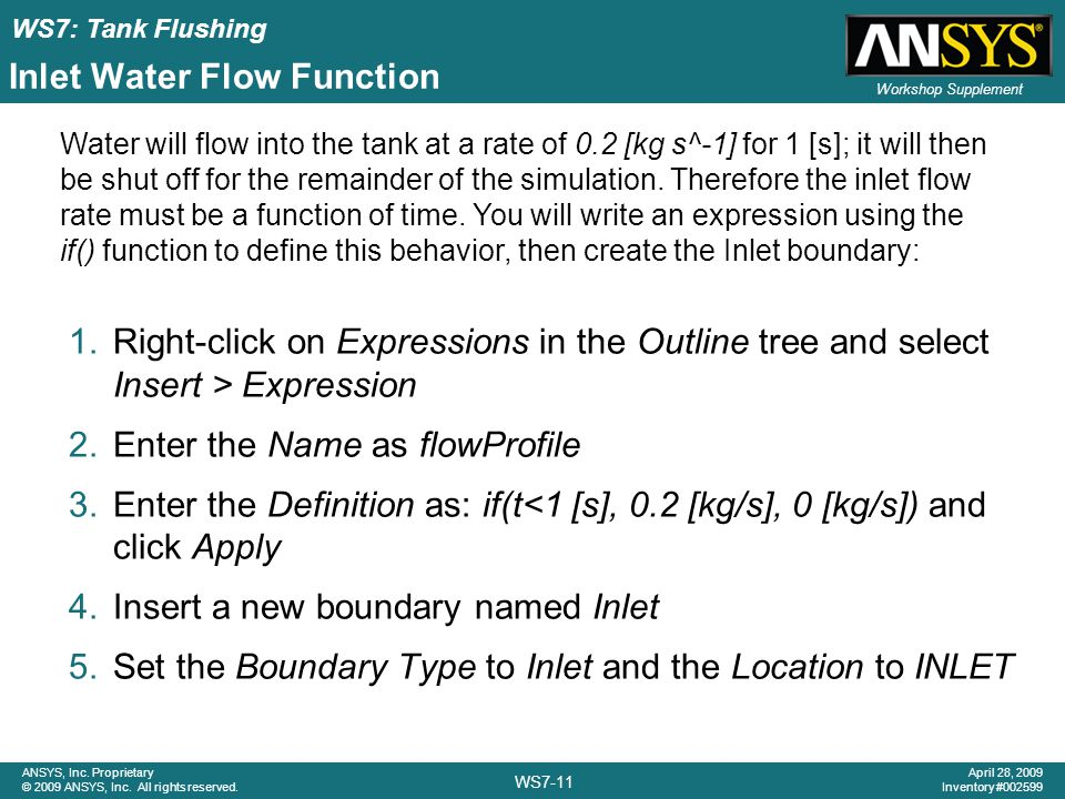 Inlet Water Flow Function