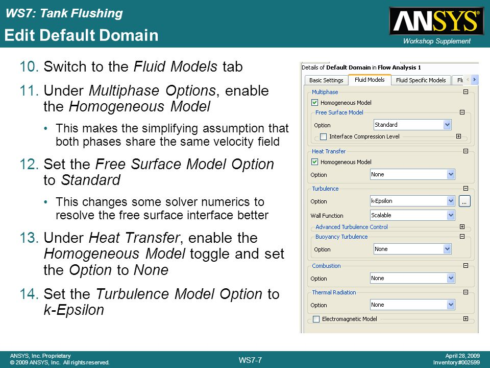 Edit Default Domain Switch to the Fluid Models tab