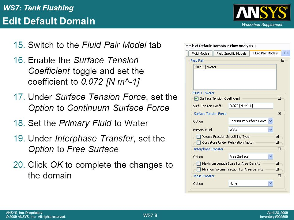Edit Default Domain Switch to the Fluid Pair Model tab