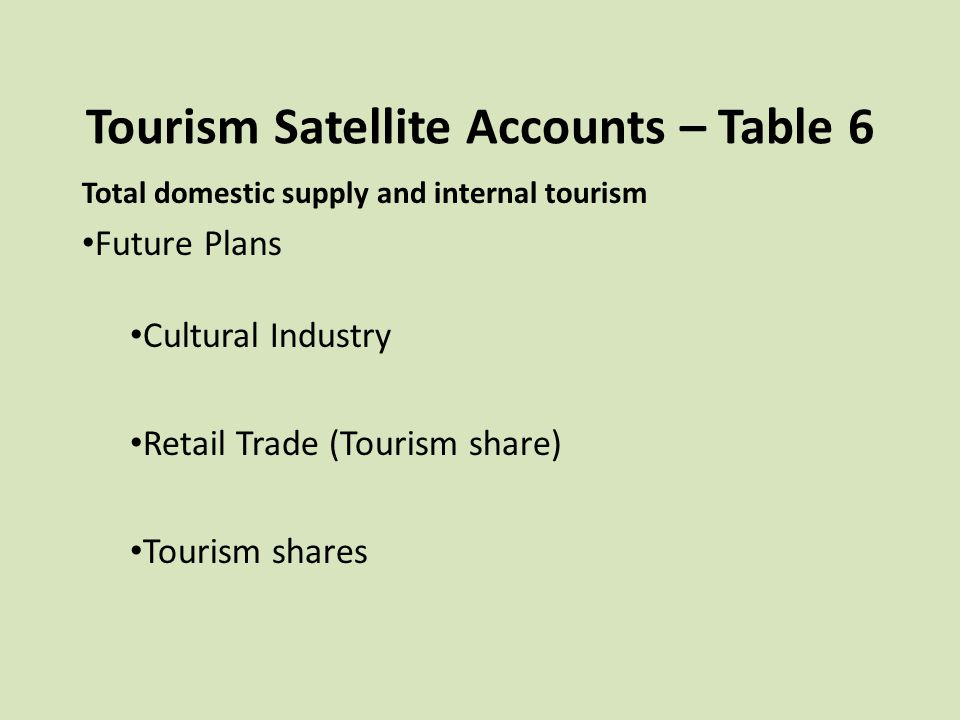 Tourism Satellite Accounts – Table 6