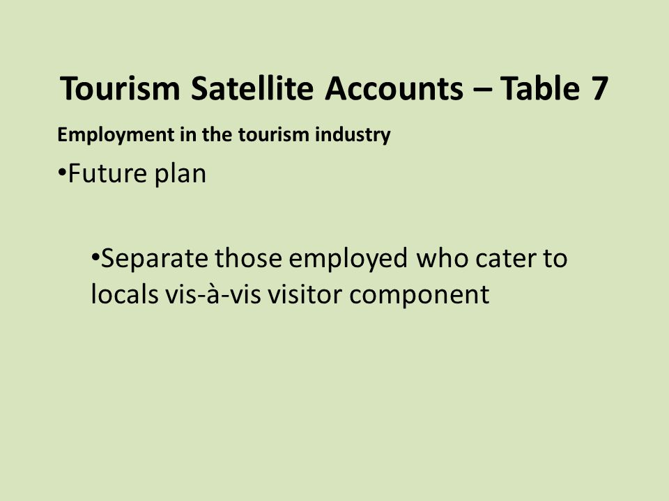 Tourism Satellite Accounts – Table 7