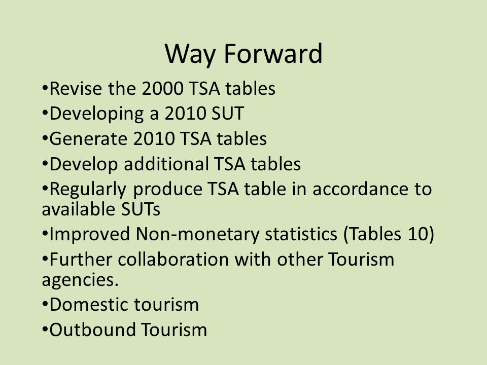 Way Forward Revise the 2000 TSA tables Developing a 2010 SUT