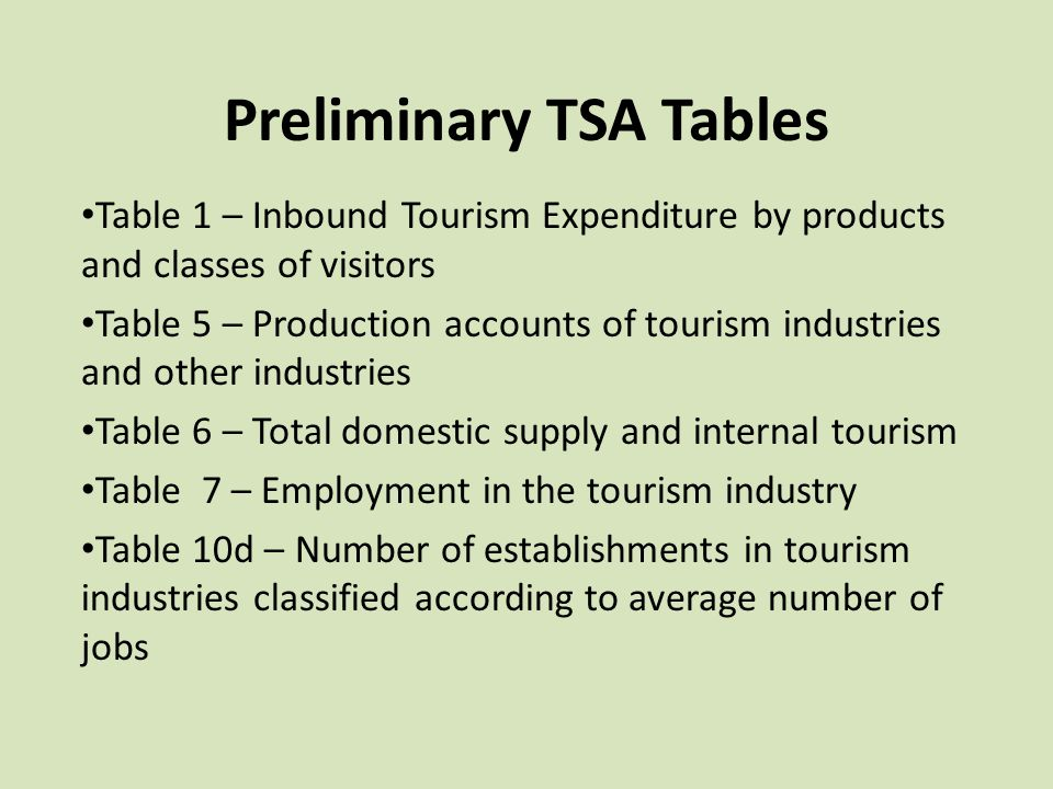 Preliminary TSA Tables