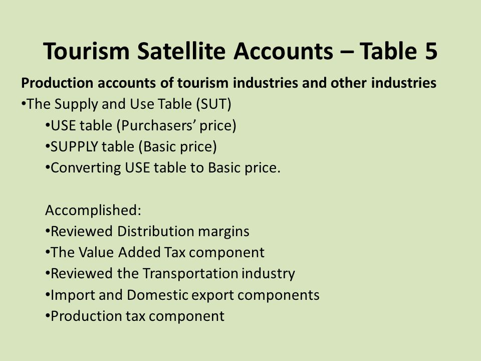 Tourism Satellite Accounts – Table 5