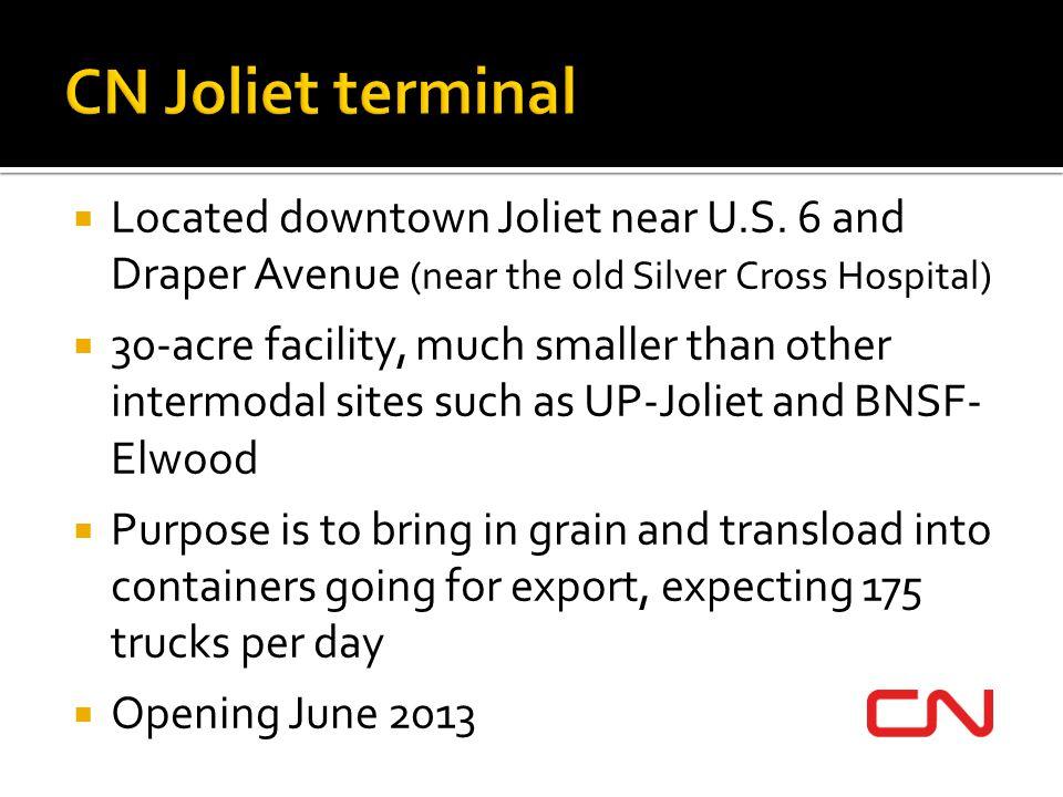 CN Joliet terminal Located downtown Joliet near U.S. 6 and Draper Avenue (near the old Silver Cross Hospital)