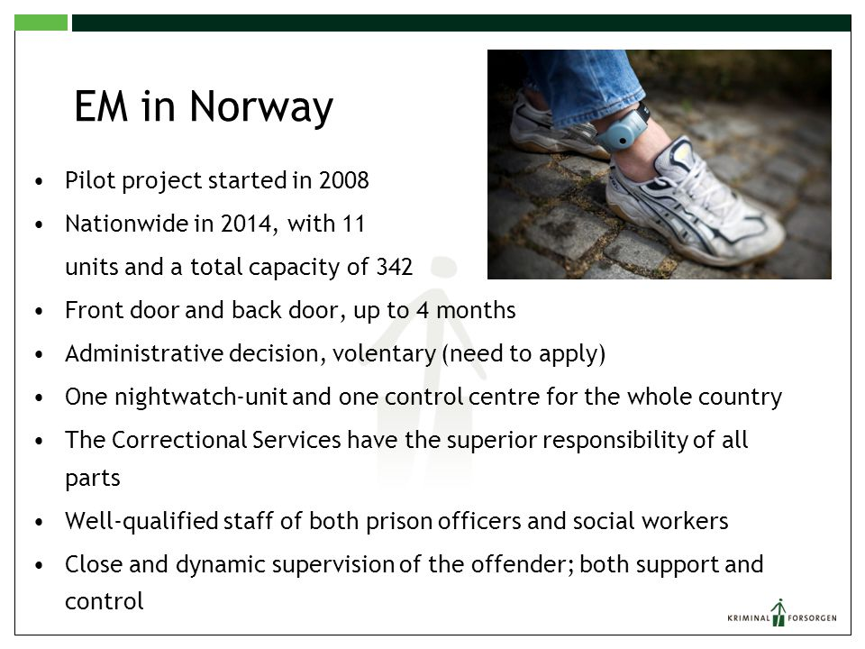EM in Norway Pilot project started in 2008 Nationwide in 2014, with 11