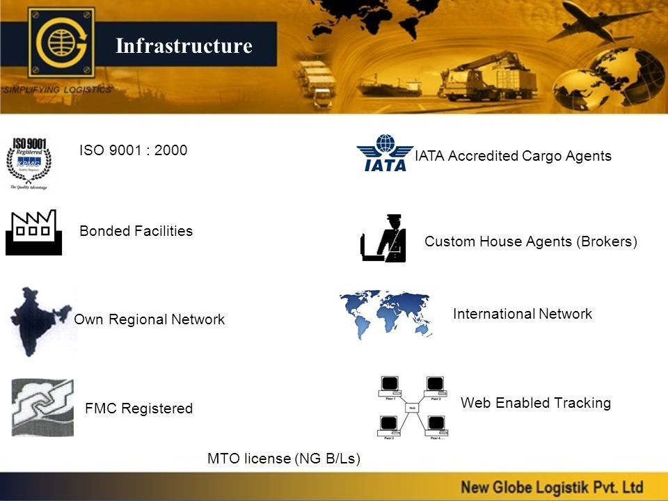 Infrastructure ISO 9001 : 2000 IATA Accredited Cargo Agents