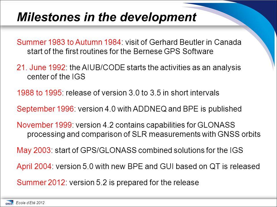Milestones in the development