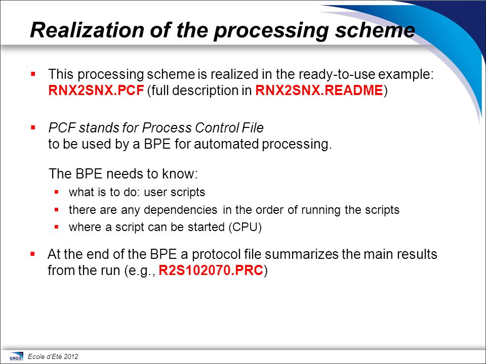 Realization of the processing scheme
