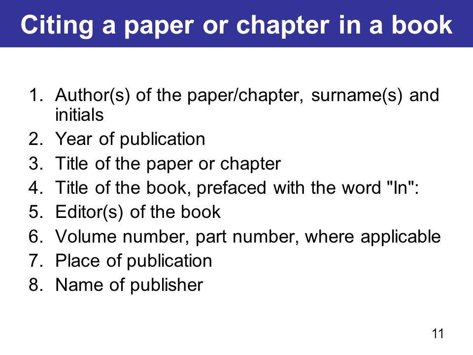 Citing a paper or chapter in a book