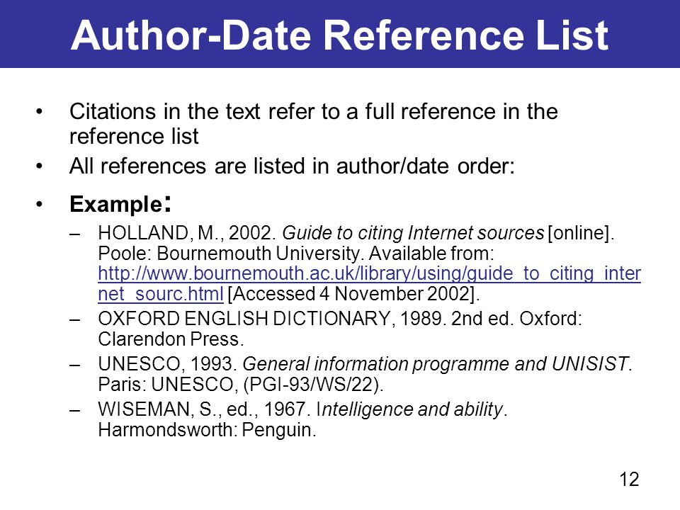 Author-Date Reference List