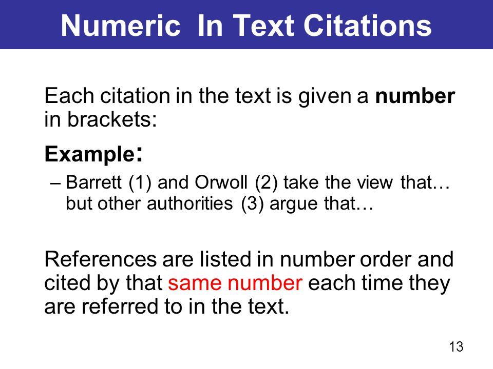 Numeric In Text Citations