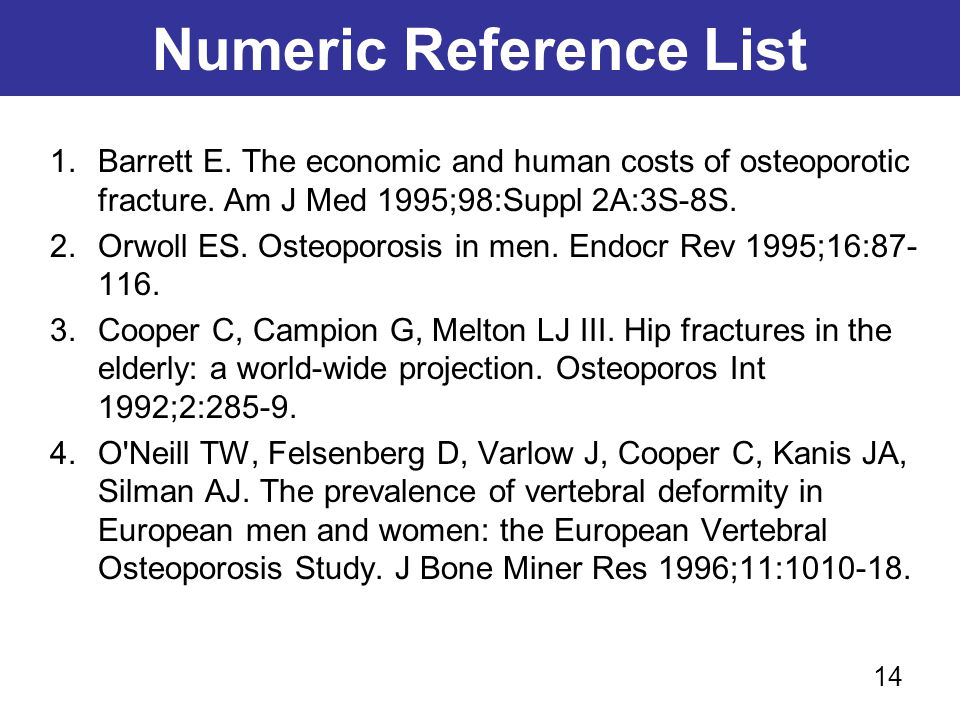 Numeric Reference List