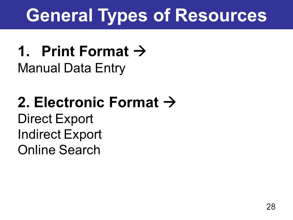 General Types of Resources