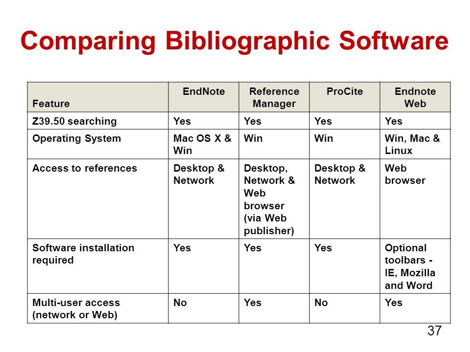 Comparing Bibliographic Software