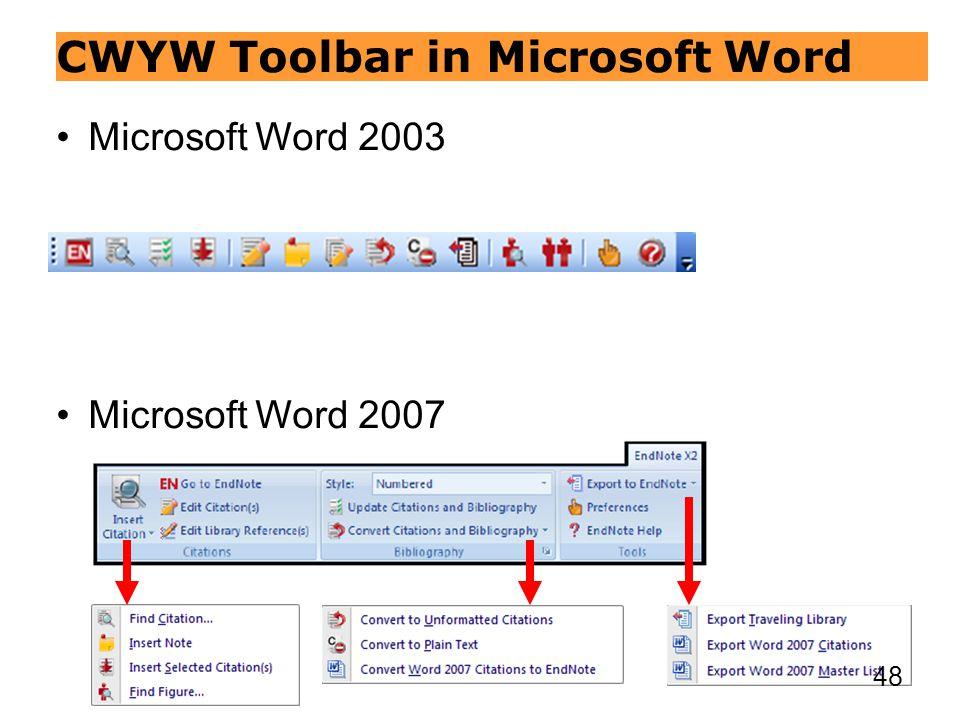 CWYW Toolbar in Microsoft Word