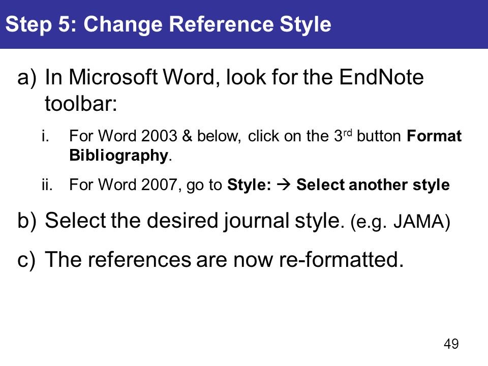 Step 5: Change Reference Style