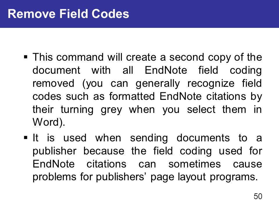 Remove Field Codes