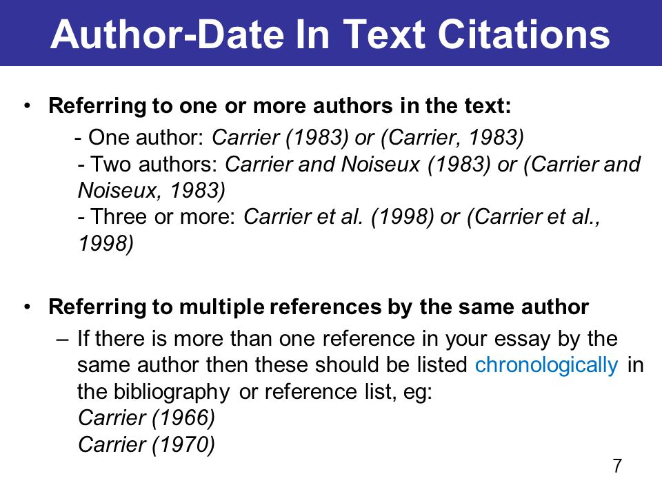 Author-Date In Text Citations