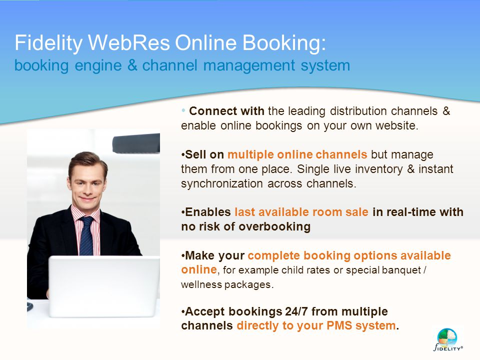 Fidelity WebRes Online Booking: booking engine & channel management system