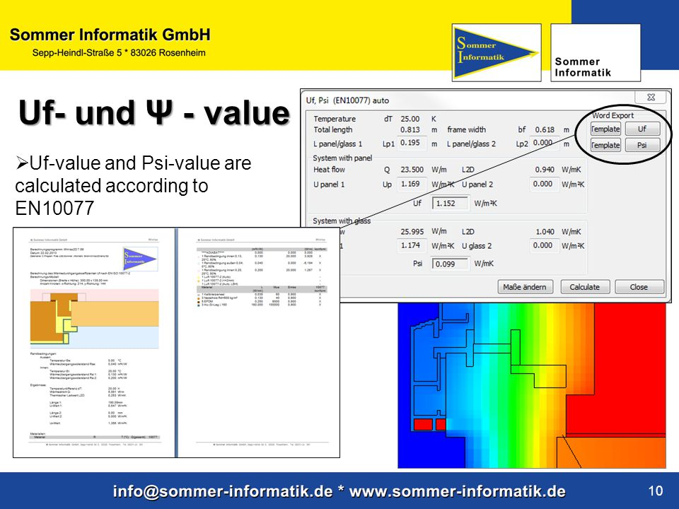 Uf- und Ψ - value Uf-value and Psi-value are calculated according to EN10077