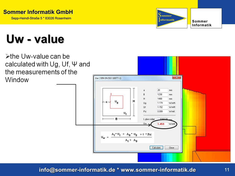 Uw - value the Uw-value can be calculated with Ug, Uf, Ψ and the measurements of the Window