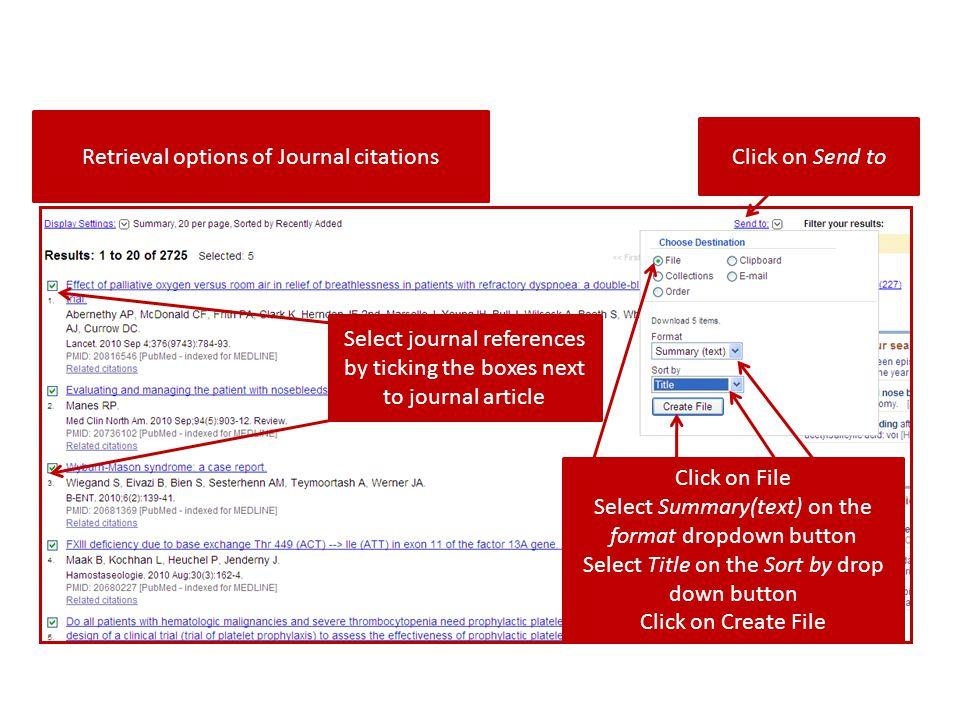 Retrieval options of Journal citations