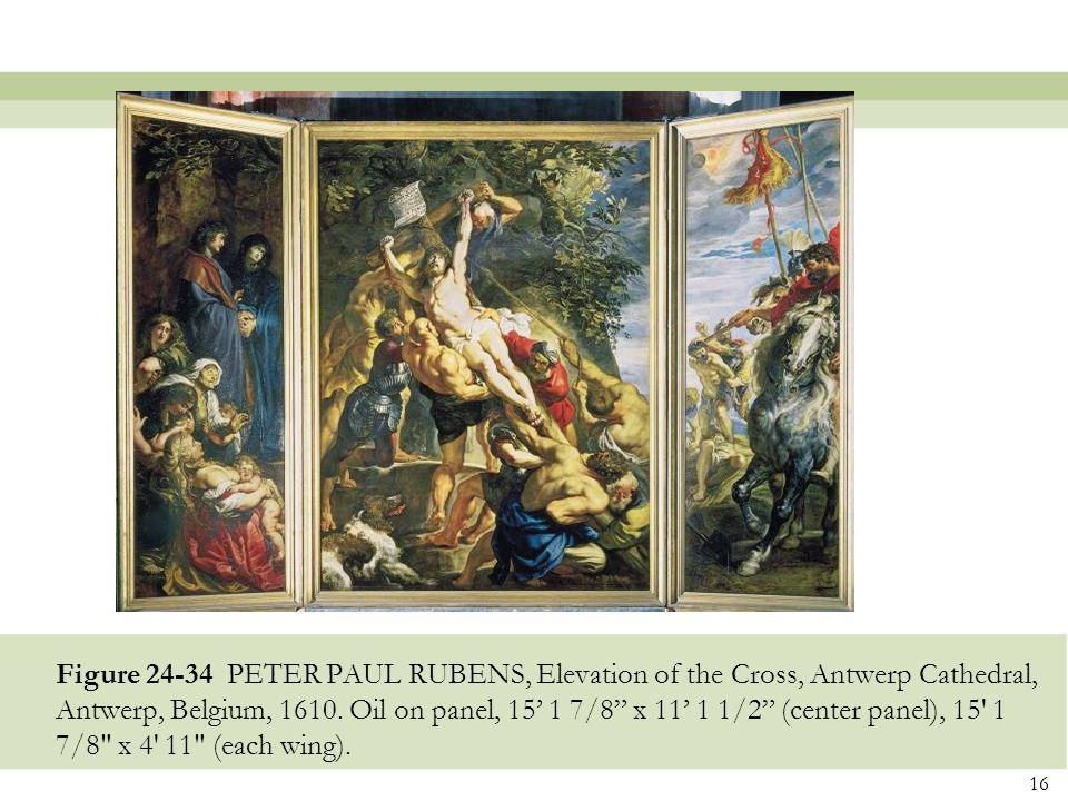 Figure 24-34 PETER PAUL RUBENS, Elevation of the Cross, Antwerp Cathedral, Antwerp, Belgium, 1610.