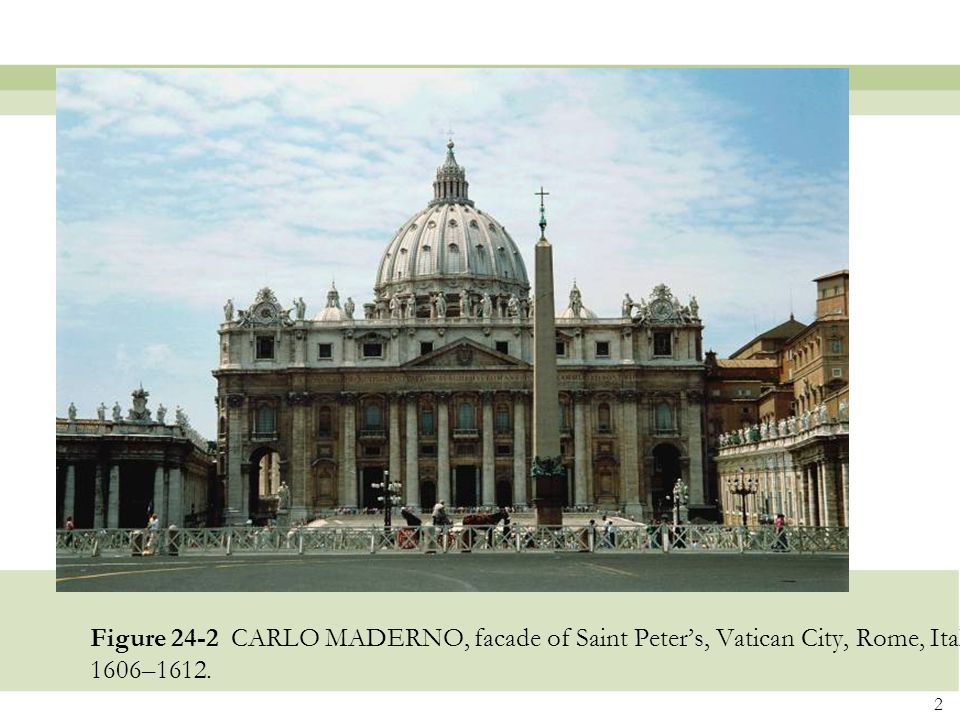 Figure 24-2 CARLO MADERNO, facade of Saint Peter's, Vatican City, Rome, Italy, 1606–1612.