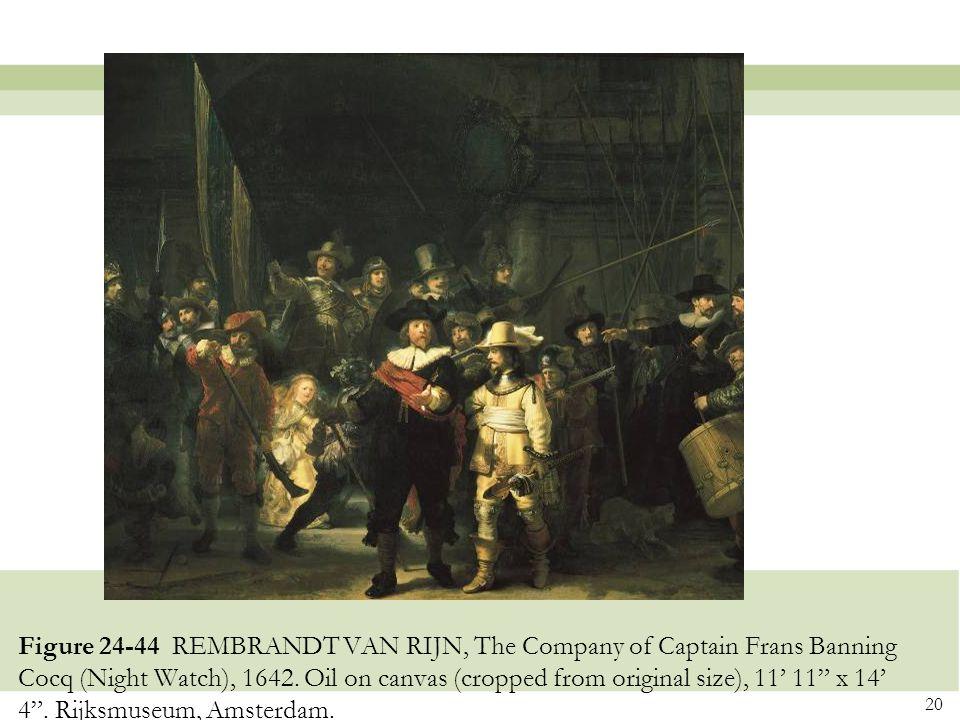 Figure 24-44 REMBRANDT VAN RIJN, The Company of Captain Frans Banning Cocq (Night Watch), 1642.