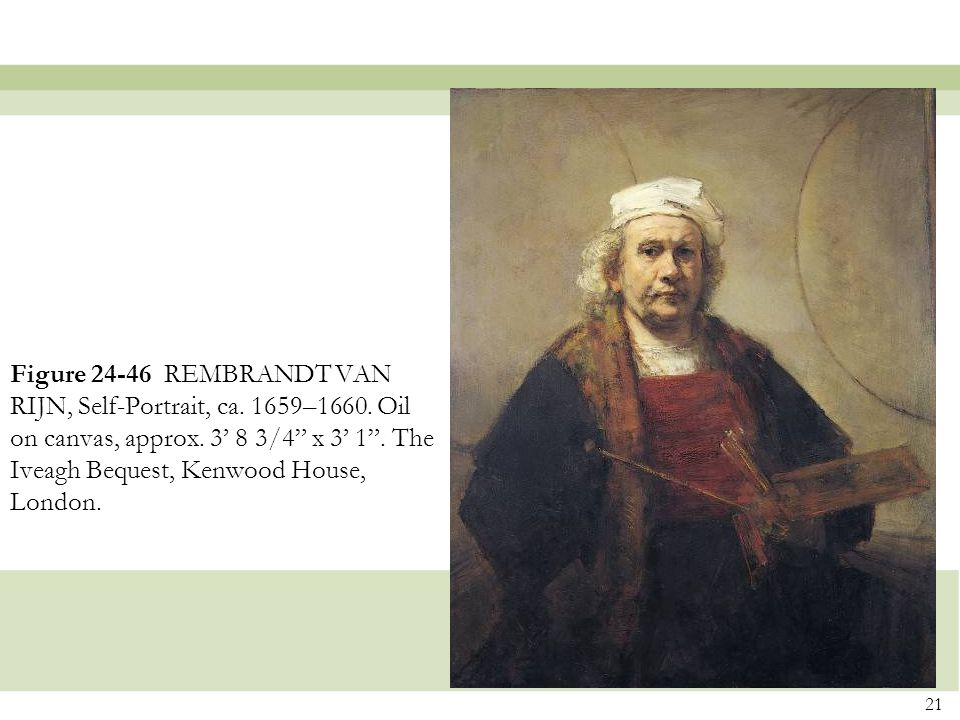 Figure 24-46 REMBRANDT VAN RIJN, Self-Portrait, ca. 1659–1660