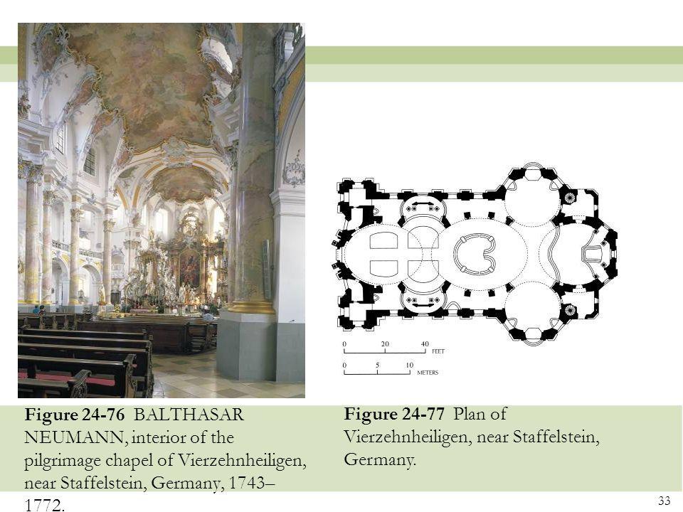Figure 24-76 BALTHASAR NEUMANN, interior of the pilgrimage chapel of Vierzehnheiligen, near Staffelstein, Germany, 1743–1772.