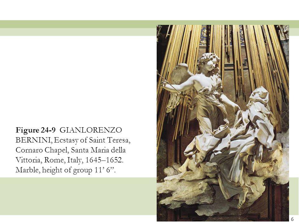 Figure 24-9 GIANLORENZO BERNINI, Ecstasy of Saint Teresa, Cornaro Chapel, Santa Maria della Vittoria, Rome, Italy, 1645–1652.