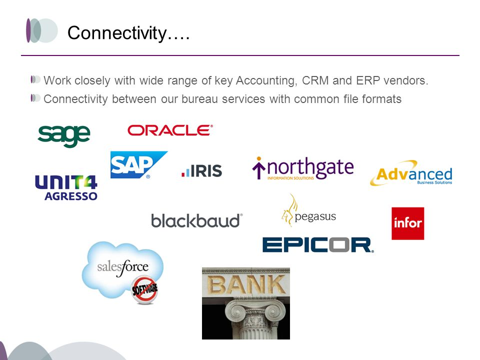 Connectivity…. Work closely with wide range of key Accounting, CRM and ERP vendors.