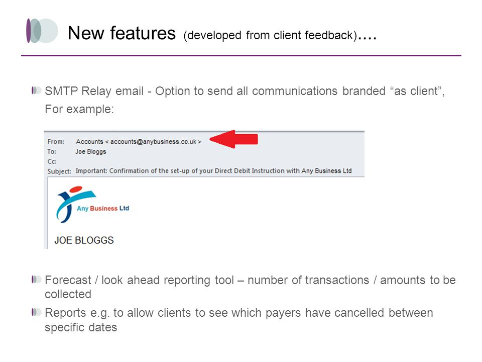 New features (developed from client feedback)....