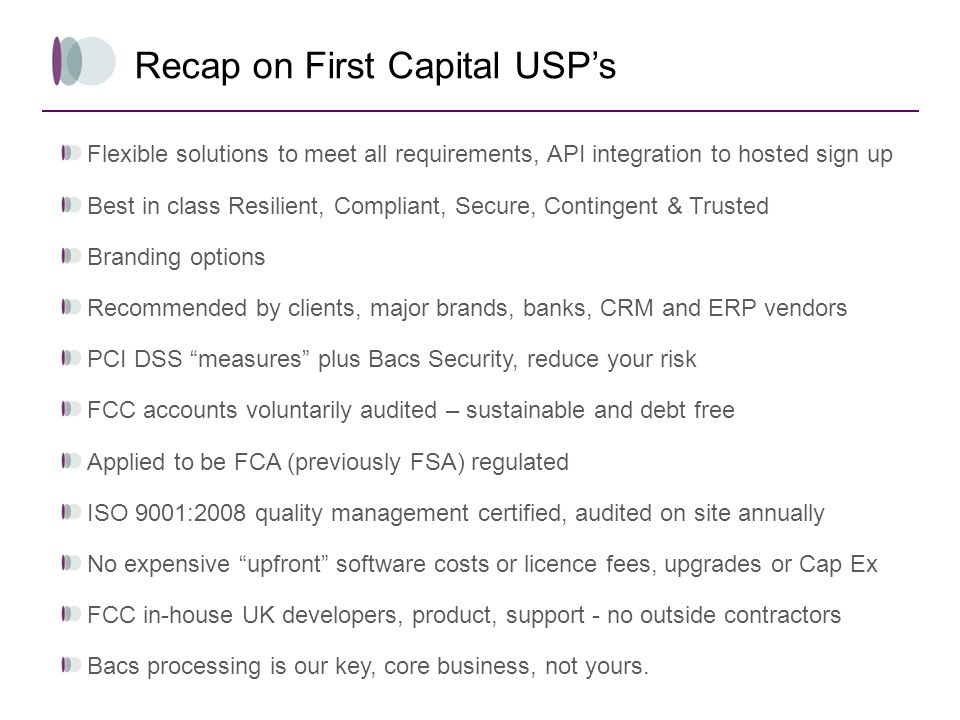 Recap on First Capital USP's