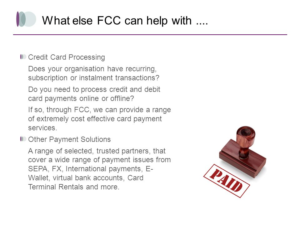 What else FCC can help with ....