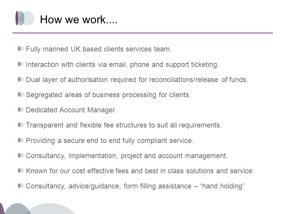 How we work.... Fully manned UK based clients services team.