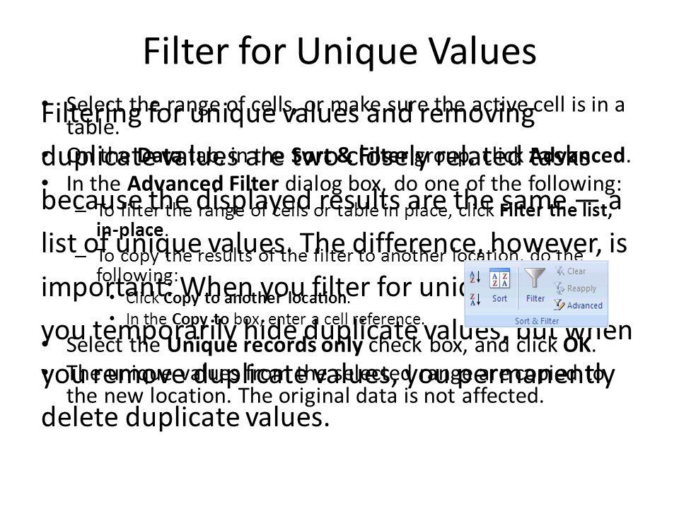 Filter for Unique Values