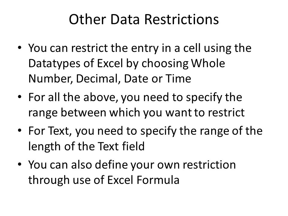 Other Data Restrictions