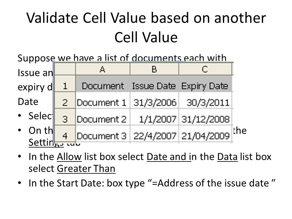 Validate Cell Value based on another Cell Value