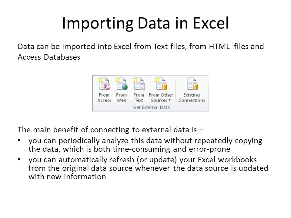 Importing Data in Excel