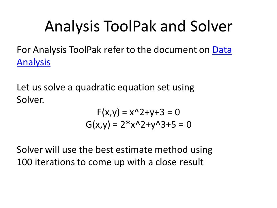 Analysis ToolPak and Solver