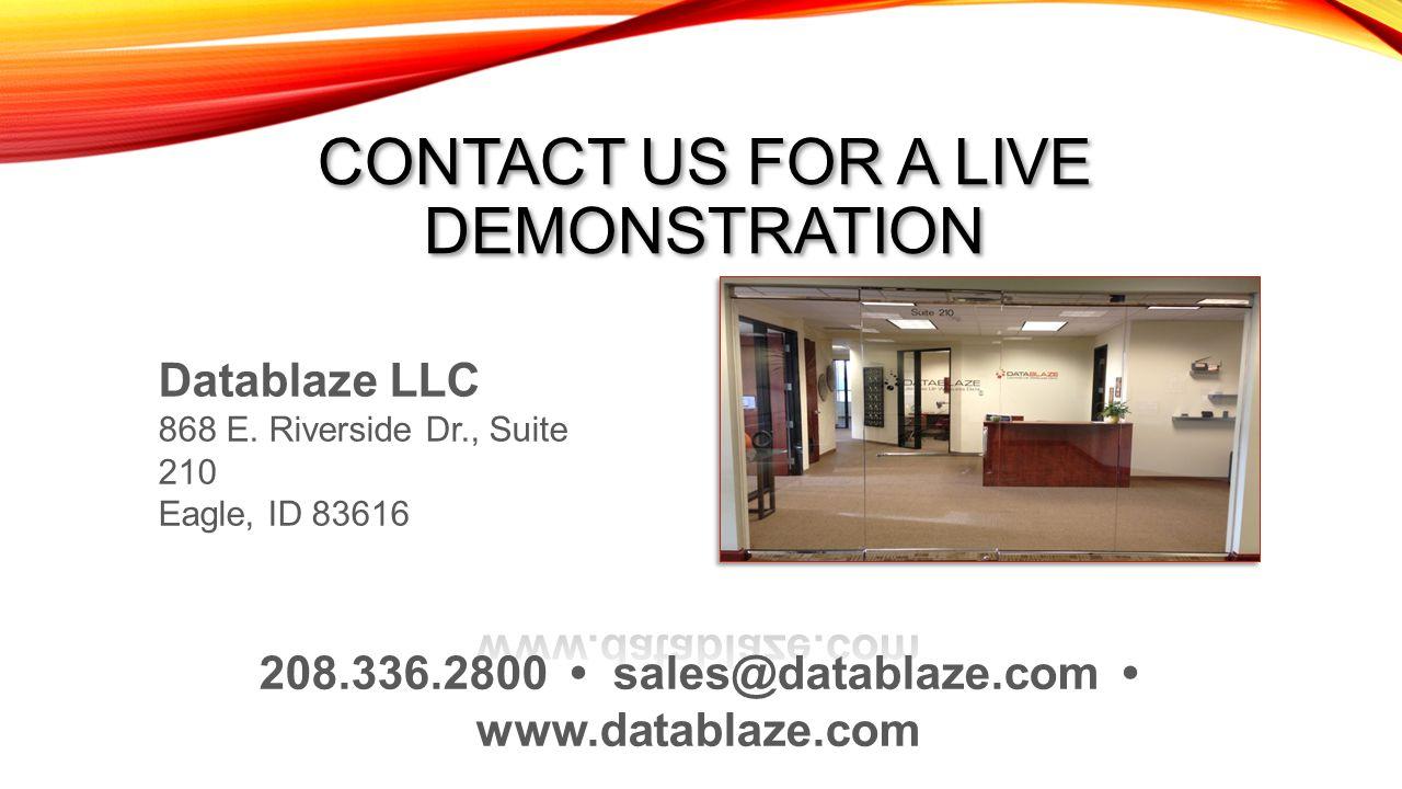 208.336.2800 • sales@datablaze.com • www.datablaze.com