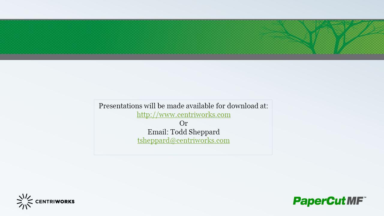 Presentations will be made available for download at: